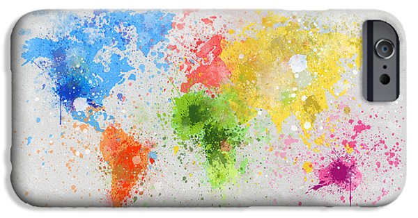 Colorful Abstract Pastels iPhone Cases - World Map Painting iPhone Case by Setsiri Silapasuwanchai