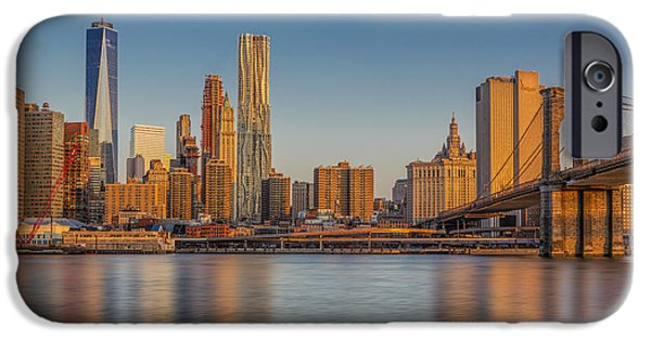 Morning iPhone Cases - World Trade Center And The Brooklyn Bridge iPhone Case by Susan Candelario