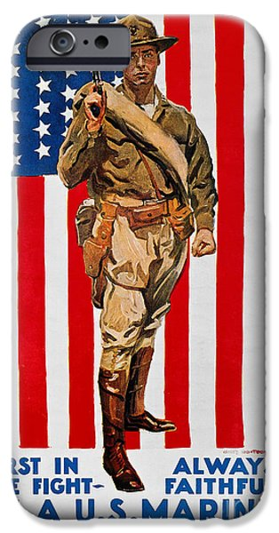 Old Glory iPhone Cases - World War I: U.s. Marines iPhone Case by Granger