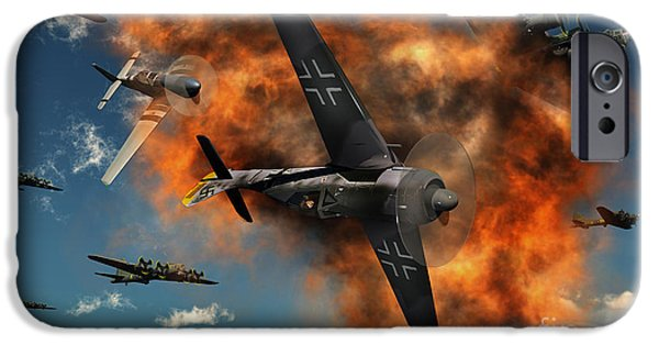 Bombing iPhone Cases - World War Ii Aerial Combat iPhone Case by Mark Stevenson