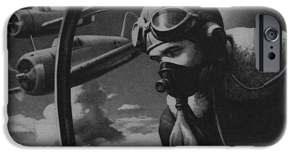 2 Seat iPhone Cases - World War II Fighter Pilot iPhone Case by American School