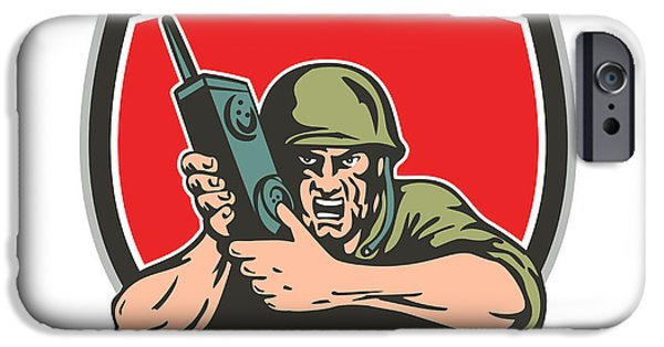 Soldier Field iPhone Cases - World War Two American Soldier Field Radio Shield iPhone Case by Aloysius Patrimonio