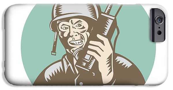 Soldier Field iPhone Cases - World War Two Soldier American Talk Radio Circle iPhone Case by Aloysius Patrimonio