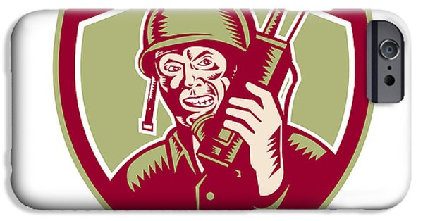 Soldier Field Digital Art iPhone Cases - World War Two Soldier American Talk Radio Crest iPhone Case by Aloysius Patrimonio