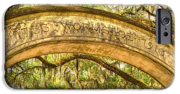 Historic Site iPhone Cases - Wormsloe Arch iPhone Case by Linda Covino
