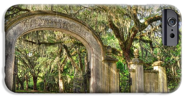 Historic Site iPhone Cases - Wormsloe Gate iPhone Case by Linda Covino
