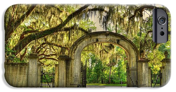 Historic Site iPhone Cases - Wormsloe Gate rear iPhone Case by Linda Covino
