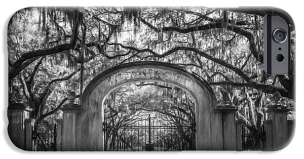 Historic Site iPhone Cases - Wormsloe Plantation BW iPhone Case by Joan Carroll