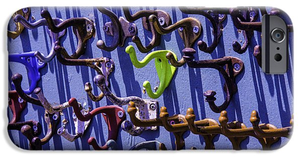 Hardware Photographs iPhone Cases - Worn Clothing Hooks iPhone Case by Garry Gay