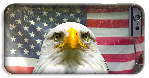 Flag iPhone Cases - Worried Eagle iPhone Case by Lynn Hansen