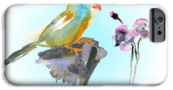 Cartoon Birds iPhone Cases - Would You Care To Dance With Me iPhone Case by Miki De Goodaboom