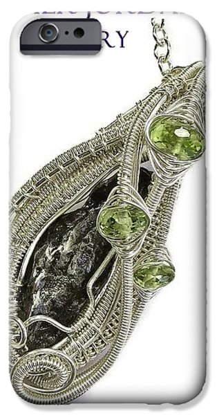 Jordan Jewelry iPhone Cases - Woven Sikhote-Alin Meteorite Pendant in Sterling Silver with Peridot IMetPSS12 iPhone Case by Heather Jordan