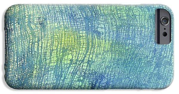 Cushions iPhone Cases - Woven Watercolor Texture Design Blue Gold Square 1 iPhone Case by Sharon Freeman