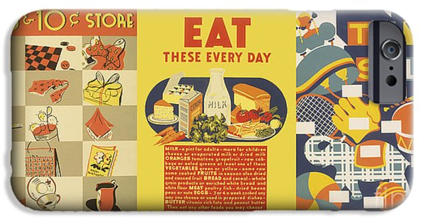 Toy Store iPhone Cases - WPA Posters 023 Eat These Everyday  Toy Sale iPhone Case by WPA Works Progress Administration