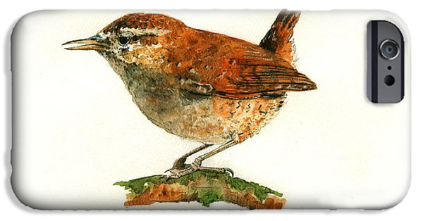 Original Watercolor iPhone Cases - Wren bird art painting iPhone Case by Juan  Bosco