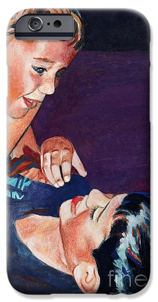 Bonding Mixed Media iPhone Cases - Wrestling brothers iPhone Case by Deanna Yildiz