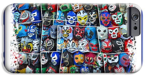 Wwf iPhone Cases - Wrestling Masks of Lucha Libre Altered III iPhone Case by Jim Fitzpatrick