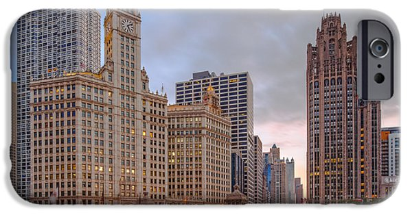 Wrigley iPhone Cases - Wrigley and Chicago Tribune Buildings - Michigan Avenue Dusable Bridge Chicago Illinois iPhone Case by Silvio Ligutti