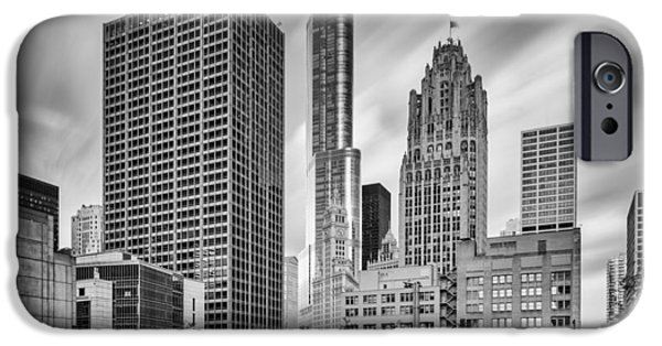 Wrigley iPhone Cases - Wrigley Equitable Buildings - Trump Chicago Tribune Tower - Black White - Chicago Illinois iPhone Case by Silvio Ligutti