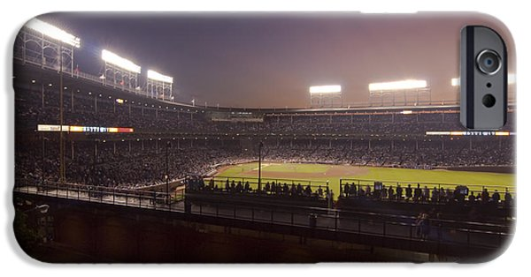 Wrigley Field iPhone Cases - Wrigley Field at Dusk 2 iPhone Case by Sven Brogren
