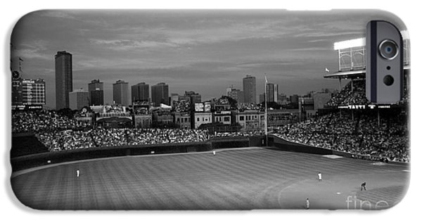 Chicago Cubs iPhone Cases - Wrigley Field at Dusk Black and White Version iPhone Case by John Gaffen