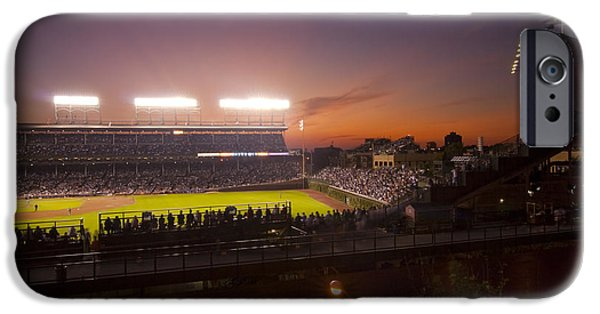 Chicago Cubs iPhone Cases - Wrigley Field at Dusk iPhone Case by Sven Brogren