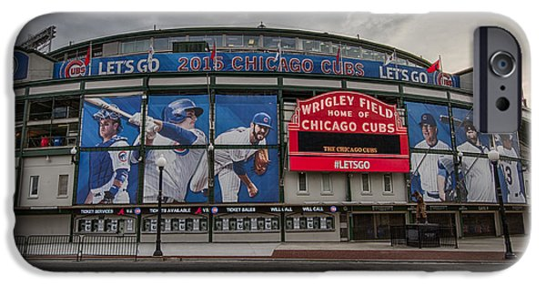 Baseball Stadiums iPhone Cases - Wrigley Field Chicago Cubs iPhone Case by Mike Burgquist