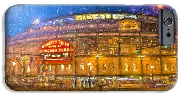 Wrigley Paintings iPhone Cases - Wrigley Glows At Night iPhone Case by John Farr