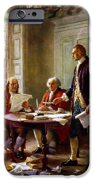 President iPhone Cases - Writing The Declaration of Independence iPhone Case by War Is Hell Store