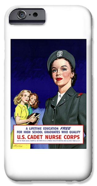 Nurse iPhone Cases - WW2 US Cadet Nurse Corps iPhone Case by War Is Hell Store