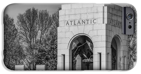Washington Dc iPhone Cases - WWII Atlantic Memorial BW iPhone Case by Susan Candelario