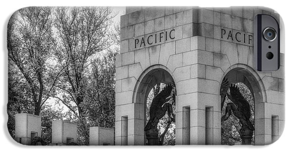 Landmark iPhone Cases - WWII Paciific Memorial BW iPhone Case by Susan Candelario