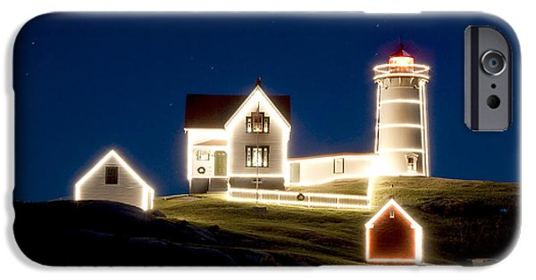 Nubble Lighthouse iPhone Cases - X-mas Nubble iPhone Case by Greg Fortier