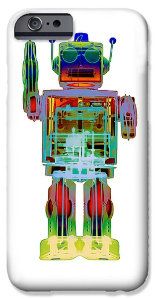 Toy Store iPhone Cases - 4N0D3 X-ray Robot Art Photpgraph iPhone Case by Roy Livingston