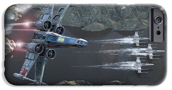 Jet Star iPhone Cases - X-Wing Along The River iPhone Case by Kurt Miller