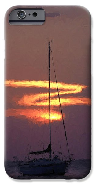 Sailboat iPhone Cases - Yacht at Sunset 2 iPhone Case by Roy Pedersen