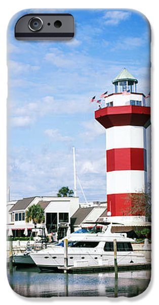 Head Harbour Lighthouse iPhone Cases - Yachts At A Harbor With Lighthouse iPhone Case by Panoramic Images