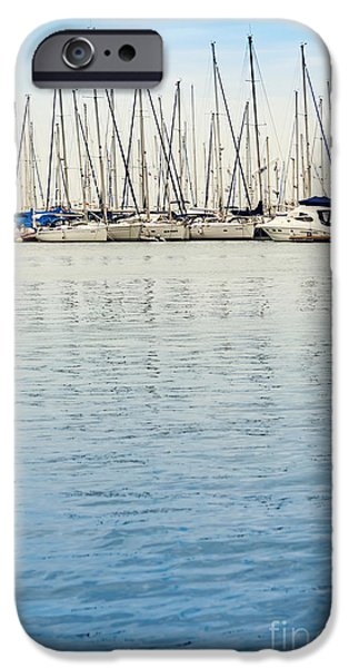 Abstract Seascape Drawings iPhone Cases - Yachts at Sea iPhone Case by Svetlana Sewell