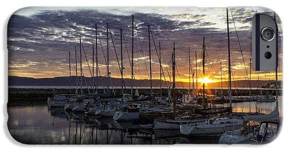 Abstract Digital Pastels iPhone Cases - Yachts at Sunset H b iPhone Case by Gert J Rheeders
