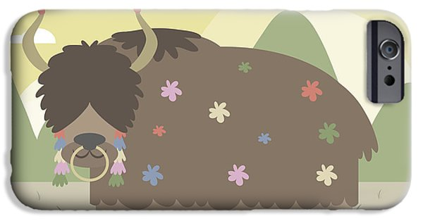 Yak iPhone Cases - Yak in mountains iPhone Case by Pablo Romero