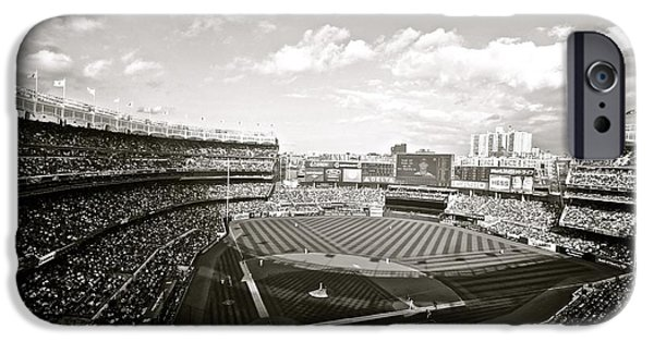 Recently Sold -  - Baseball Stadiums iPhone Cases - Yankee Stadium Third BW iPhone Case by Phil Selig