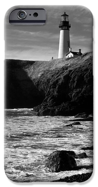 Lighthouse iPhone Cases - Yaquina Head Lighthouse iPhone Case by Lara Ellis