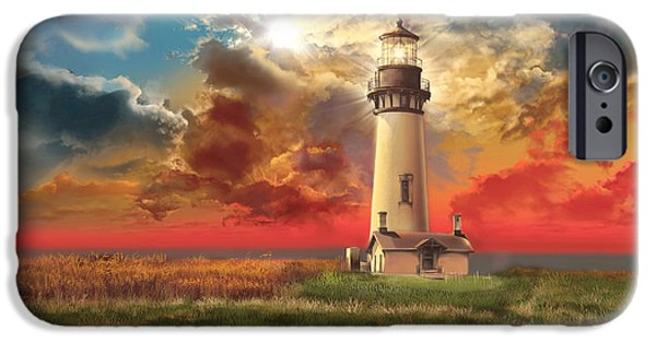 Lincoln iPhone Cases - Yaquina Head Lighthouse iPhone Case by MB Art factory