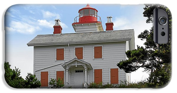 Head Harbour Lighthouse iPhone Cases - Yaquina Lighthouses - Yaquina Bay Lighthouse Oregon iPhone Case by Christine Till