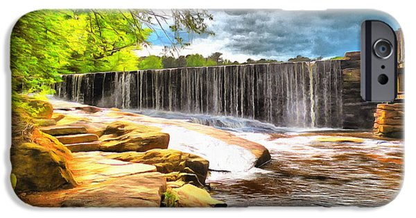 Grist Mill Mixed Media iPhone Cases - Yates Mill Dam Raleigh NC iPhone Case by Mylinda Revell