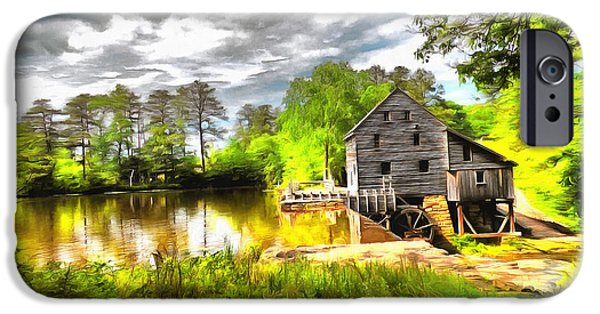 Grist Mill Mixed Media iPhone Cases - Yates Mill Raleigh NC II iPhone Case by Mylinda Revell