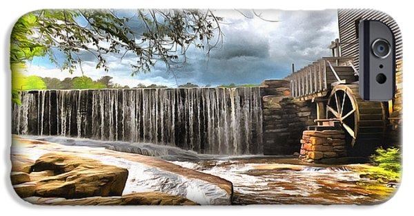 Grist Mill Mixed Media iPhone Cases - Yates Mill Raleigh NC iPhone Case by Mylinda Revell
