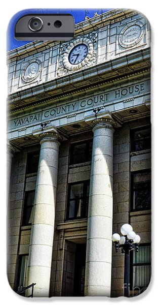 Prescott Arizona iPhone Cases - Yavapapi County Court House - Prescott  iPhone Case by Saija  Lehtonen