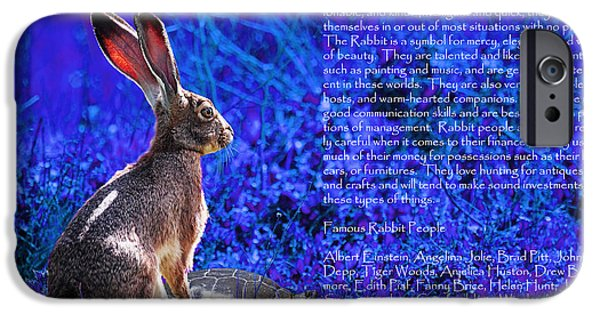 Nursery Rhyme iPhone Cases - Year of the Rabbit 2011 . blue iPhone Case by Wingsdomain Art and Photography