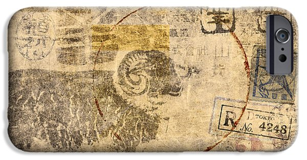 Postcard iPhone Cases - Year of the Ram Postcard iPhone Case by Carol Leigh
